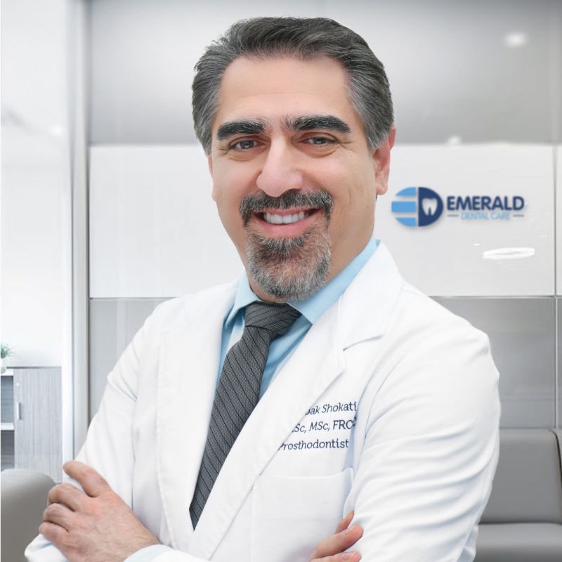 Dr. Babak Shokati is a board-certified prosthodontist (FRCDc). He received his dental degree (DDS) in 1998